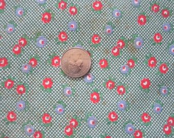 Vintage 1930s/40s Full Cotton Feedsack Feed Sack-Tiny Red Green Blue Floral No.1