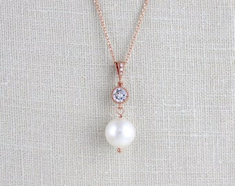 Rose Gold Pearl necklace, Pearl Wedding necklace, Pearl drop necklace, Rose Gold Bridal necklace, Rose Gold necklace, Crystal necklace