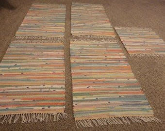 "Hand Woven Pastel Rag Rug 25"" x 45"" (Recycled Bath Towels)"