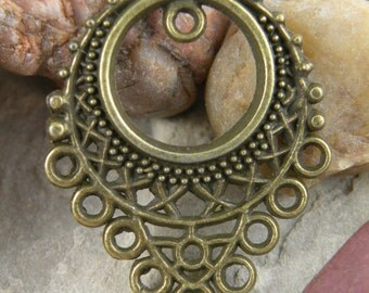 Boho Chic Antiqued Brass Drop Focal Piece Earrings or Necklace 10 Loop