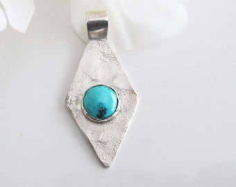 Turquoise & Silver Pendant, Handcrafted Sterling Jewelry, Birthstone Jewelry