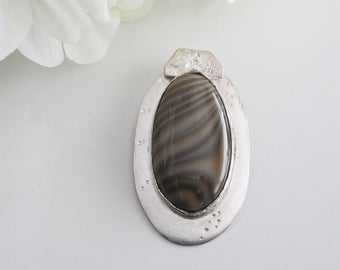 Earth Tone Pendant: Striped Polish Flint Oval on Sterling, All Handcrafted in Shades of Brown and Cream