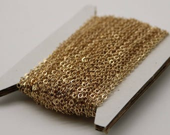 NEWnew 100 feet Pinky Gold Chain (Rose Gold) (Champagne Gold) Chain - 3x2mm SOLDER Flat Cable Chain -  Flat Soldered Cable Bulk Wholesale