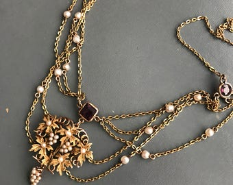 Antique Gold Seed Pealrs Swag necklace . Amethyst . Art Nouveau Jewelry