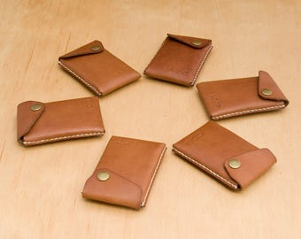 Groomsmen Gift Set, Set of 2 (or more) Leather Wallet Card Cases / Mini Wallets - FREE monograms - FREE Shipping