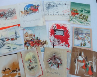 Victorian Times in Fashion and Carriages Featured in Vintage Christmas Card Lot No 966 Total of 12 Mostly 1940s to 1960s