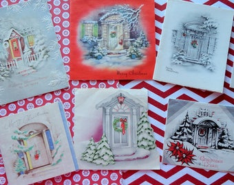 Welcome Home to Pretty Decorated Doorways of All Styles in Vintage Christmas Card Lot No 1013 Total of 10