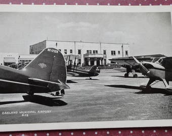 Oakland Municipal Airport B-73 Airplane Antique Postcard RPPC  One cent Stamp was Required