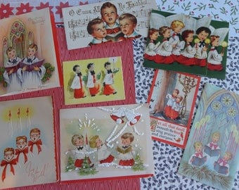Singing Their Hearts Out in Vintage Christmas Card Lot No 1073 Little Choir Boys All in A Row Total of 8
