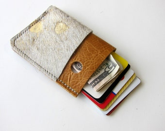 Leather Wallet - 3 Pocket - Raw and Rustic - Two Tone Color Leather - WITH Patchy Hair on Hide Leather in Gold