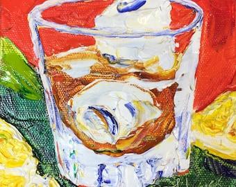 Manhatan 5x5 Inch Original Impasto Oil Painting by Paris Wyatt Llanso