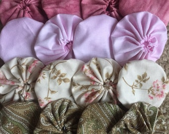 Yoyo fabric flower,16 pieces, for scrapbook Embellishment APPLIQUE Quilt GARLAND decoratio