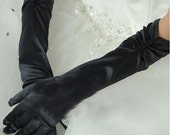 Cyber Monday Long Black Gloves, Satin Gloves, Long Gloves,  Formal Wear , Prom Gloves, Black Pin Up Gloves, Special Occasion, Cocktail Glove