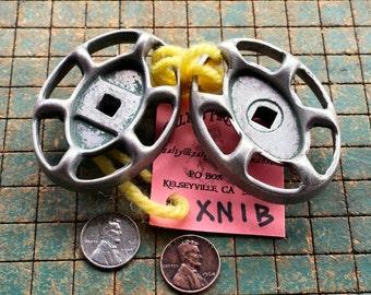 2 oval valve handles, green, aluminum, old garden faucet knobs, industrial, steampunk art, XN1B
