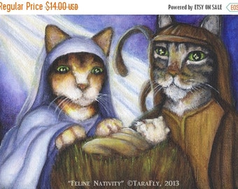 ON SALE Nativity Cat Art, Mary Joseph and Baby Jesus in Manger 5x7 Art Print