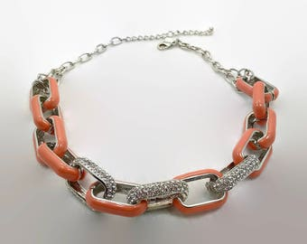 KJL Necklace, Silver Metal, Rhinestone, Crystal, Chain, Vintage Necklace, Kenneth J. Lane, Enameled, Peach, Chunky, NOS, Designer, Big