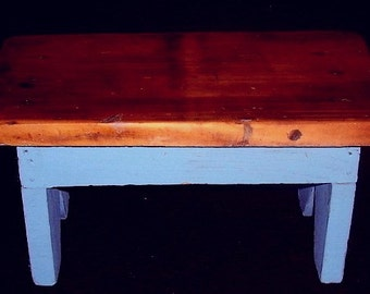 Vintage WOOD FOOT STOOL Shabby Country Farm House Folk Art French Blue & Natural