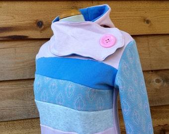 Hoodie Sweatshirt Sweater Handmade Recycled Upcycled One of a Kind PASTEL PONY Ladies MEDIUM - Pastel Cute Kawaii Pockets