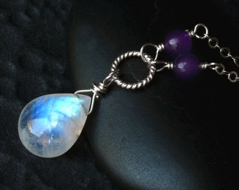 "Rainbow Moonstone Necklace with Purple Aventurine - ""Callisto"" by CircesHouse on Etsy"