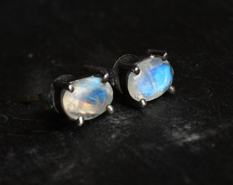 RESERVED Rainbow Moonstone Stud Earrings in Oxidized Sterling Silver
