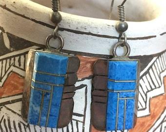 Vintage Native American Zuni Turquoise Inlay Sterling Silver Dangle Earrings | Hooks for Pierced Ears | Southwest | Bennie Bowekaty Signed