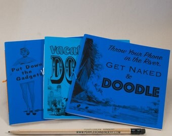 3 Doodle Coloring Books with Fun Black & White Prints and Sturdy Funky Blue Covers