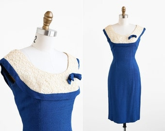 vintage 1960s dress / 60s dress / Blue and Lace Mad Men Wiggle Dress