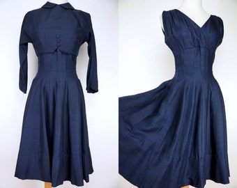 1960s Jonathan Logan Silk Dress Blue Fit and Flare Bolero Shelf Bust Small Party Dress