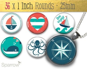 Nautical Sailing Love  - One (1) Inch Round Pendant Images - Digital Sheet - Buy 2 Get 1 Free - Instant Download - 25mm Round Images