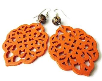 Orange Diamond Filigree Earrings with Palm Wood Beads