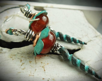 Southwest Earrings with Turquoise Patina and Red Agate with Spike Drop