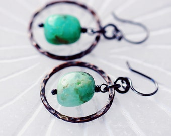Chrysoprase Nugget Earrings | Boho Rustic Earrings | Copper Jewelry | Green Stone Earrings | Lightweight Earrings | Dangle Earrings