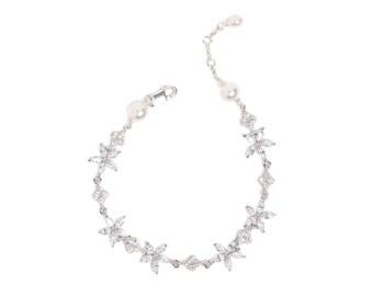 THISTLE | floral silver crystal wedding bracelet, rhinestone bracelet, silver wedding jewellery