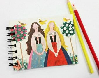 Snow White and Rose Red, Upcycled Mini Notebook