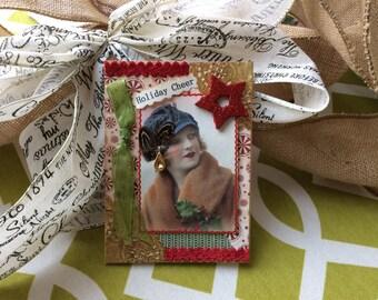 Handmade Christmas Card - Merry Christmas Card - Vintage Lady Card - Christmas Holiday Card