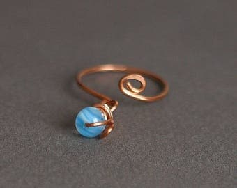 Charm Ring, Dangle Ring, Adjustable Ring, Copper Ring, Fashion Ring, Size 7 Ring