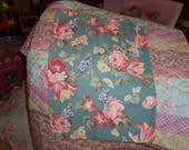 Vintage Barkcloth Bag pull string Laundry etc. Roses Floral chic excellent