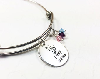 Foxy Mama Bracelet - Birthstone Bangle - Mom Jewelry - Hip Mom Gift - Birthstone Crystal Bangle - Hand Stamped Bangle - Personalized Jewelry