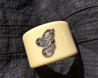 Antique Celluloid Napkin Ring Sterling Monogram G