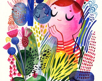"""Bright Thoughts... original watercolor... 10"""" x 14"""" in... (26 x 36cm)"""