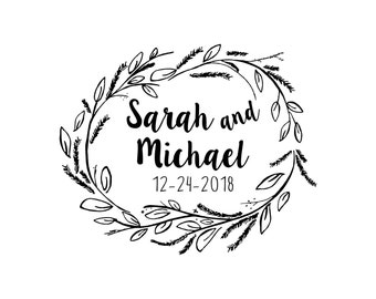 Wreath Save the Date stamp