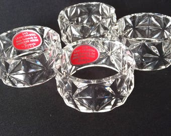 4 Fostoria Crystal Napkin Rings for Princess House