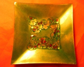 Signed mid century copper enamel art dish/ashtray/accent piece