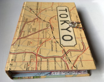 Tokyo/Japan Travel Journal, upcycled maps, cotton-rag and fine art papers, large pocket