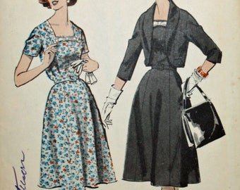 Vintage, 1950s Sewing Pattern, Advance 9060, Half-Size Dress and Jacket, Size 14 1/2, UNCUT, FF