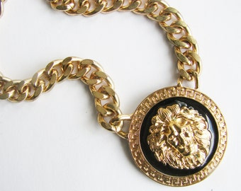 Vintage gold and black enamel lion shield necklace (M)