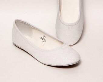 Glitter - Bridal White Ballet Flat Slipper Custom Shoes