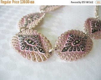 SALE Pink and Black Necklace, Diamond, Faux Marcasite, Aluminum, Links, Enamel, Eloxal, W. Germany