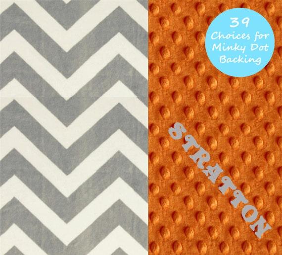 Chevron Minky Baby Blanket Boy, Gray Orange Personalized Baby Blanket // Stroller Blanket // Baby Shower Gift / Chevron Blanket