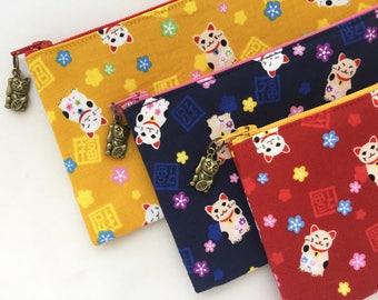 Maneki-neko Zipper Pouch/ Pencil Case - indigo / Red/ Mustard